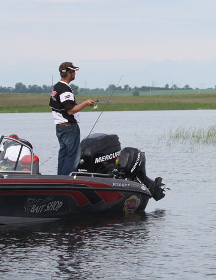 John Dircks in action plying the bobber trade on mighty Devils Lake.