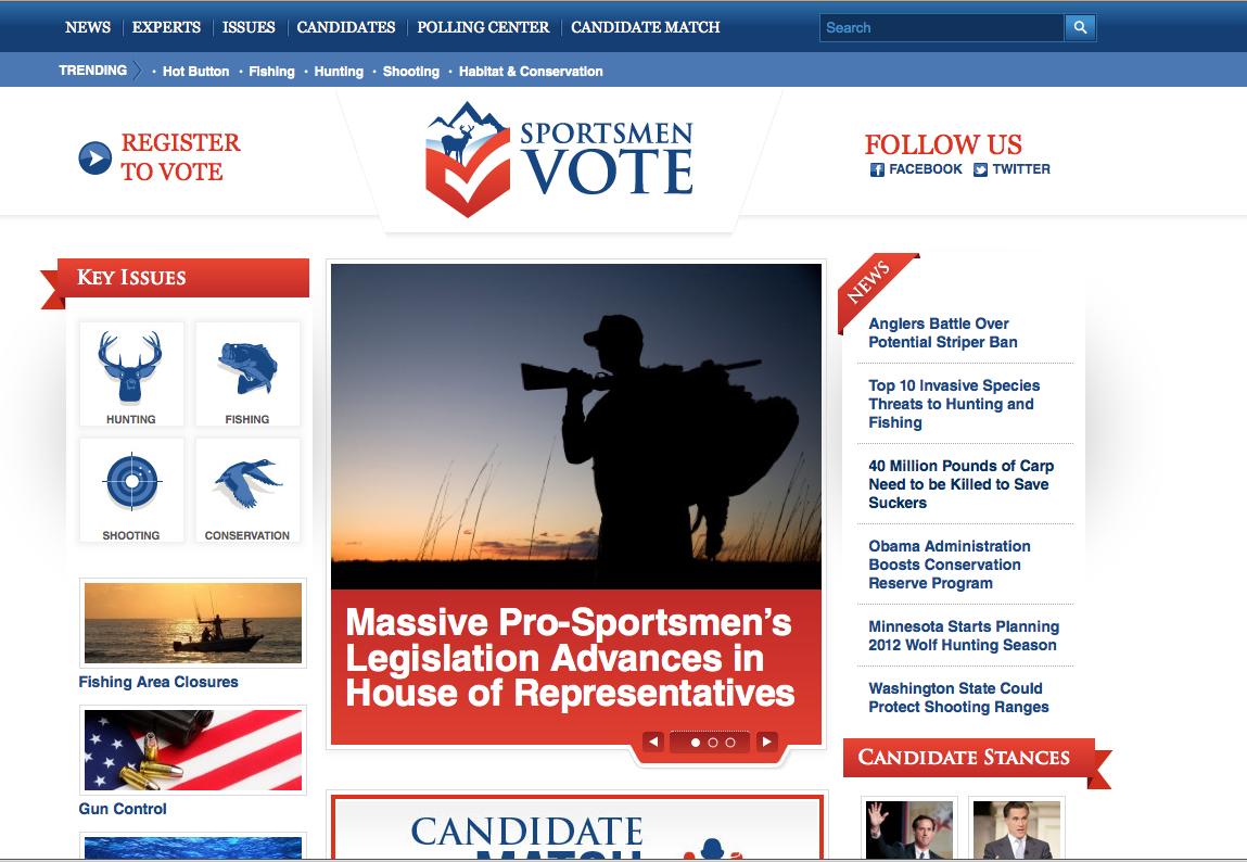 INTERMEDIA OUTDOORS LAUNCHES SPORTSMENVOTE.COM SITE  A Powerful New Web Tool Dedicated to