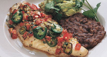 With Jalapeno, Tomato & Garlic, Guacamole, and Refried Black Beans This baked catfish recipe