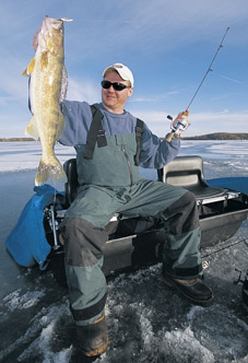 A: The upper edge of the shallowest zone (shallow pivot point) where walleyes roam during and after