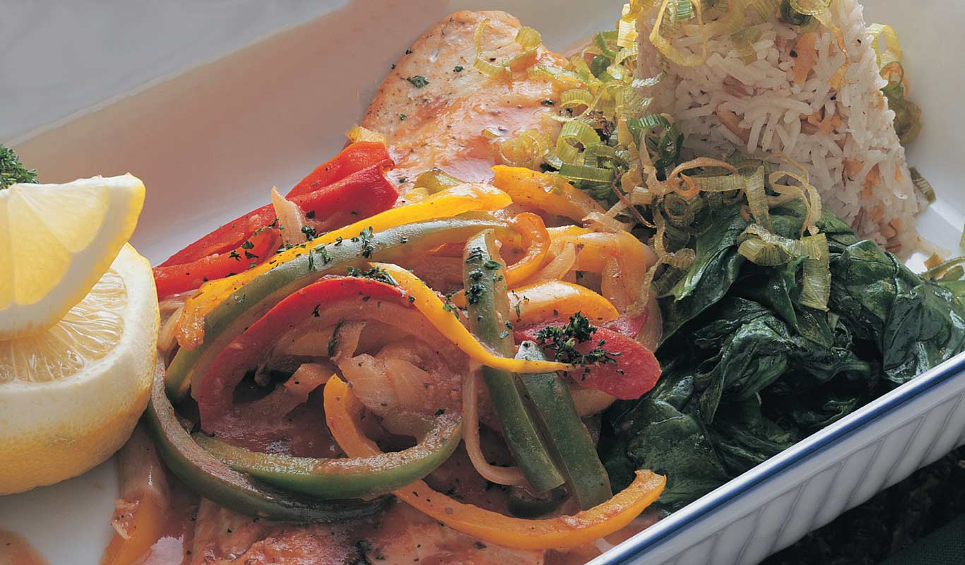 Walleye Baked With Sweet Peppers & Onions Recipe