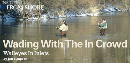 In spring, walleyes are instinctively drawn to flowing water. Catching them in inlets--small