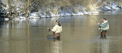 In keeping with our foot patrol theme for spring shore walleyes, waders offer an easy and