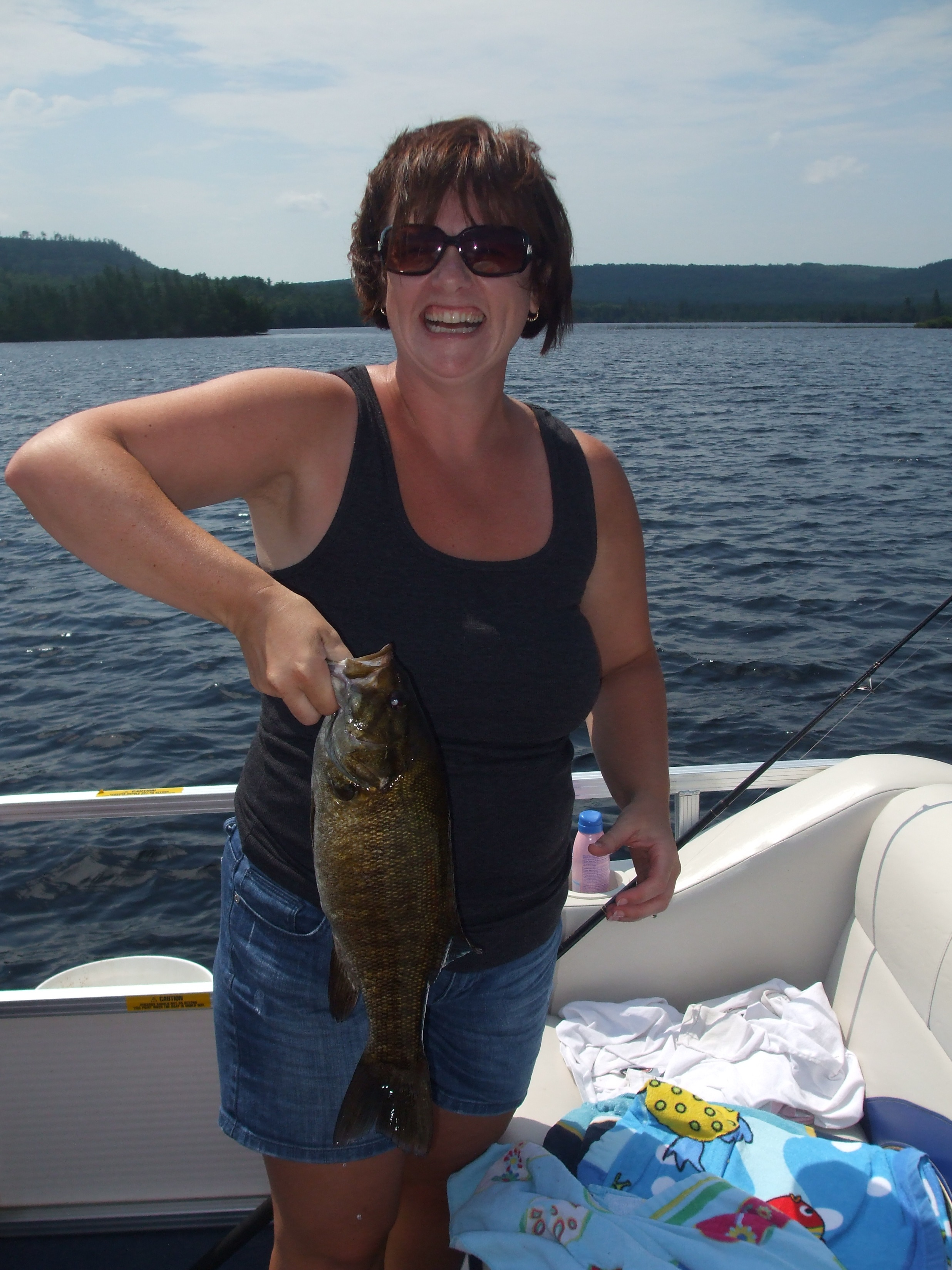 Tracy Romu Winnipeg Manitoba  My first small mouth bass ever. Boy was my husband ever mad that I