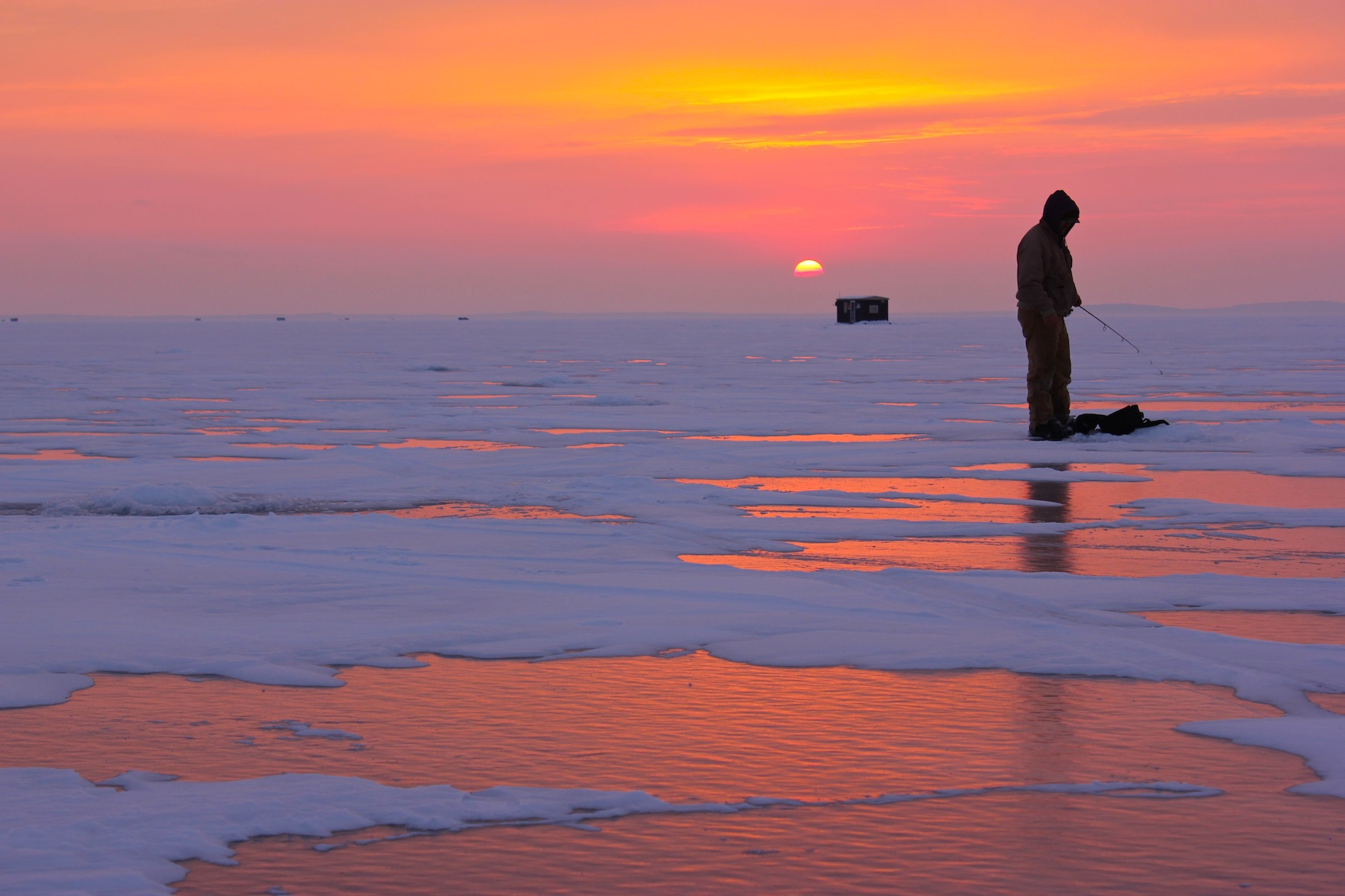 What did I just say about sunrises and sunsets on Mille Lacs? This, alone, makes a day on the ice