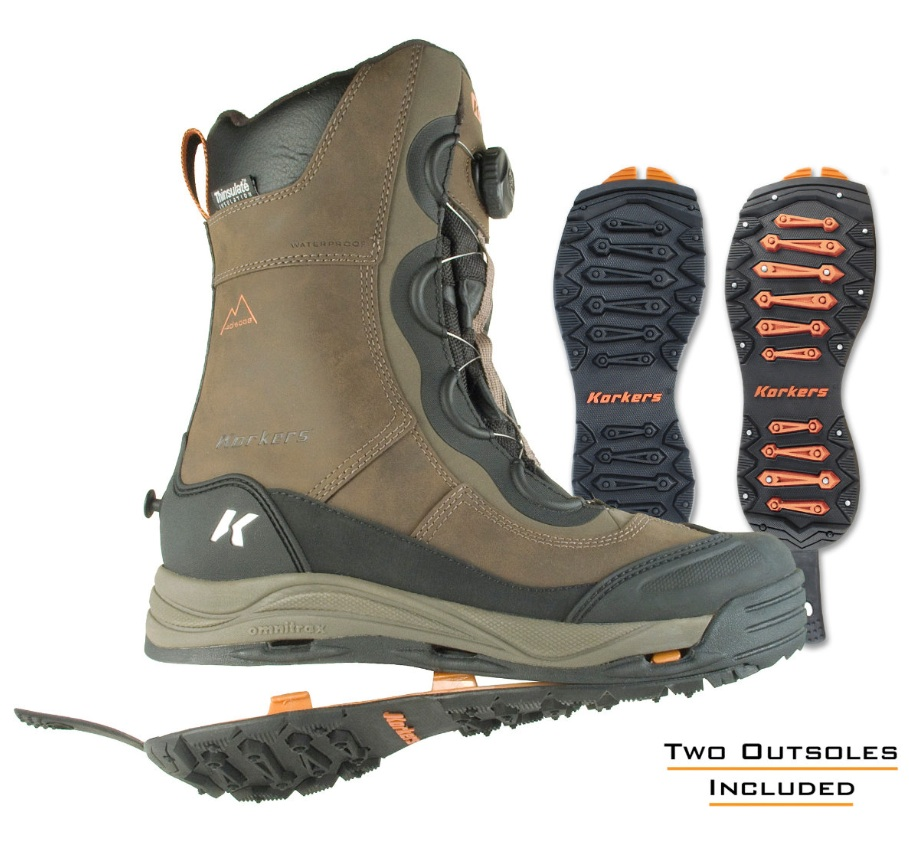 Innovative Ice Jacks feature the Korkers OmniTrax 3.0 Interchangeable Sole System with two