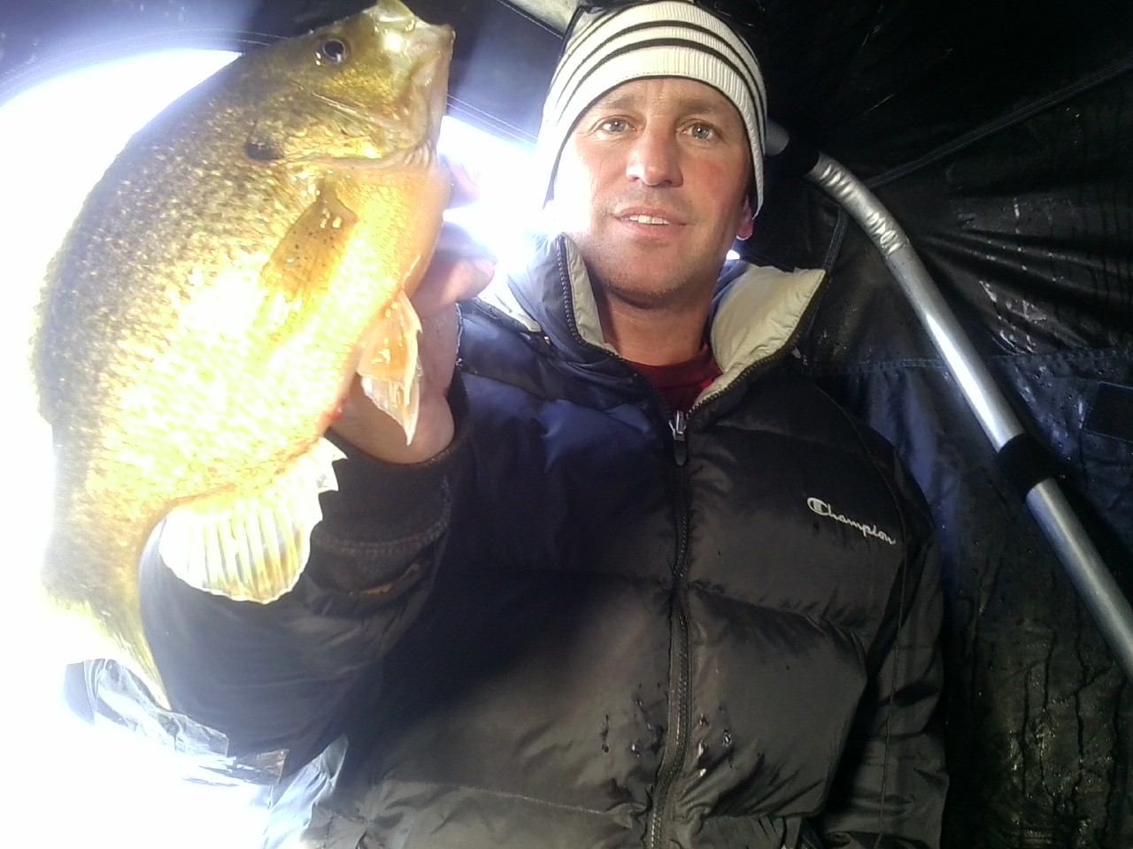 Jason Carlson LeMars Iowa  Had a great day of ice fishing on one of my favorite ponds close to