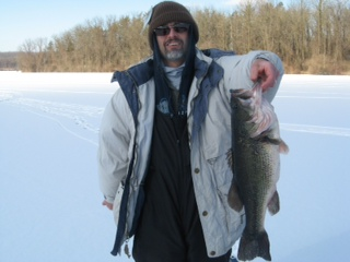 Perry Focht Blandon Pennsylvania  While ice fishing on Lake Ontelaunee, I had a big run on a tip