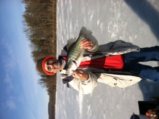 Perry Focht Blandon  Pennsylvania  While ice fishing on Lake Ontelaunee with a large minnow