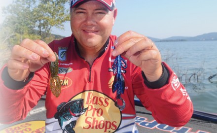 A hawg-style bait works best for Kevin VanDam when postspawn bass are suspended in standing timber