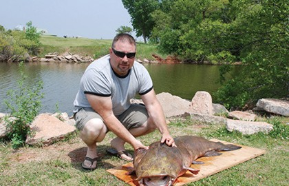 Voracious predators fond of tangled logjams and other gnarly environments, giant flathead catfish