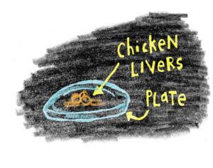 Chicken-Livers-Blackboard-Illustration-In-Fisherman