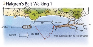 After casting and when the bait has sunk to bottom, raise the rod to 12 o'clock to lift bait and sinker off bottom, allowing current to propel it towards the tree. Drop the rod to 3 o'clock until the bait settles, repeating lift-drops until it reaches the desired spot.