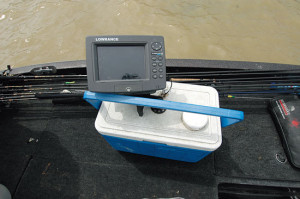 Mounting  a GPS unit  on a cooler and placing it within reach allows Capps to quickly punch in a waypoint when he catches fish.