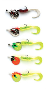 12-pound Berkley Trilene XT line, #3 JB Lures Ventilator Blade, #4 Gamakatsu Walleye Wide Gap Hook with 2-inch Berkley PowerBait Grub—rig length 36 inches.
