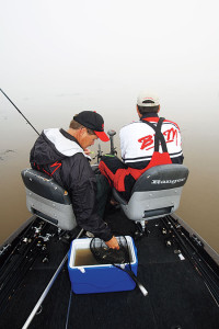 Side-by-side seating with clearance for rod holders and each angler.