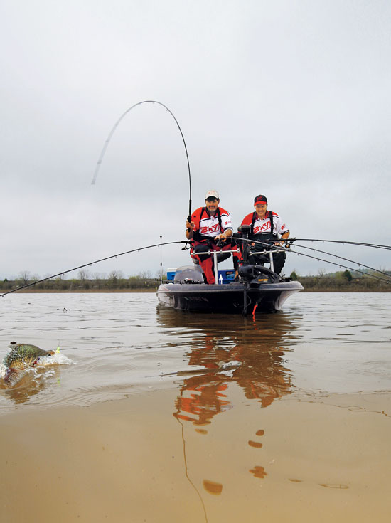 Spider rigging crappies in fisherman for Crappie fishing boats