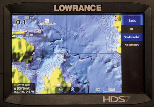 Lowrance HD in shaded relief mode.