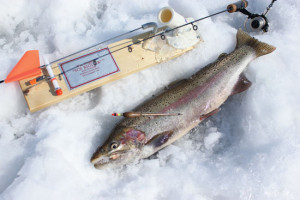 The HT Ice Rigger serves well with a light drag setting on the reel. Using waxworms or spawn—something a steelhead holds onto—provides an angler more time to set the hook.