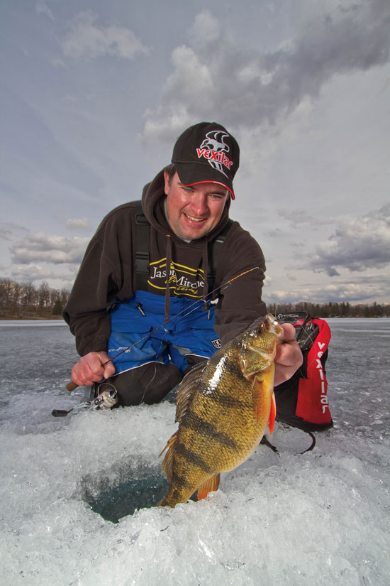 Ice fishing deep perch in fisherman for Ice fishing perch lures
