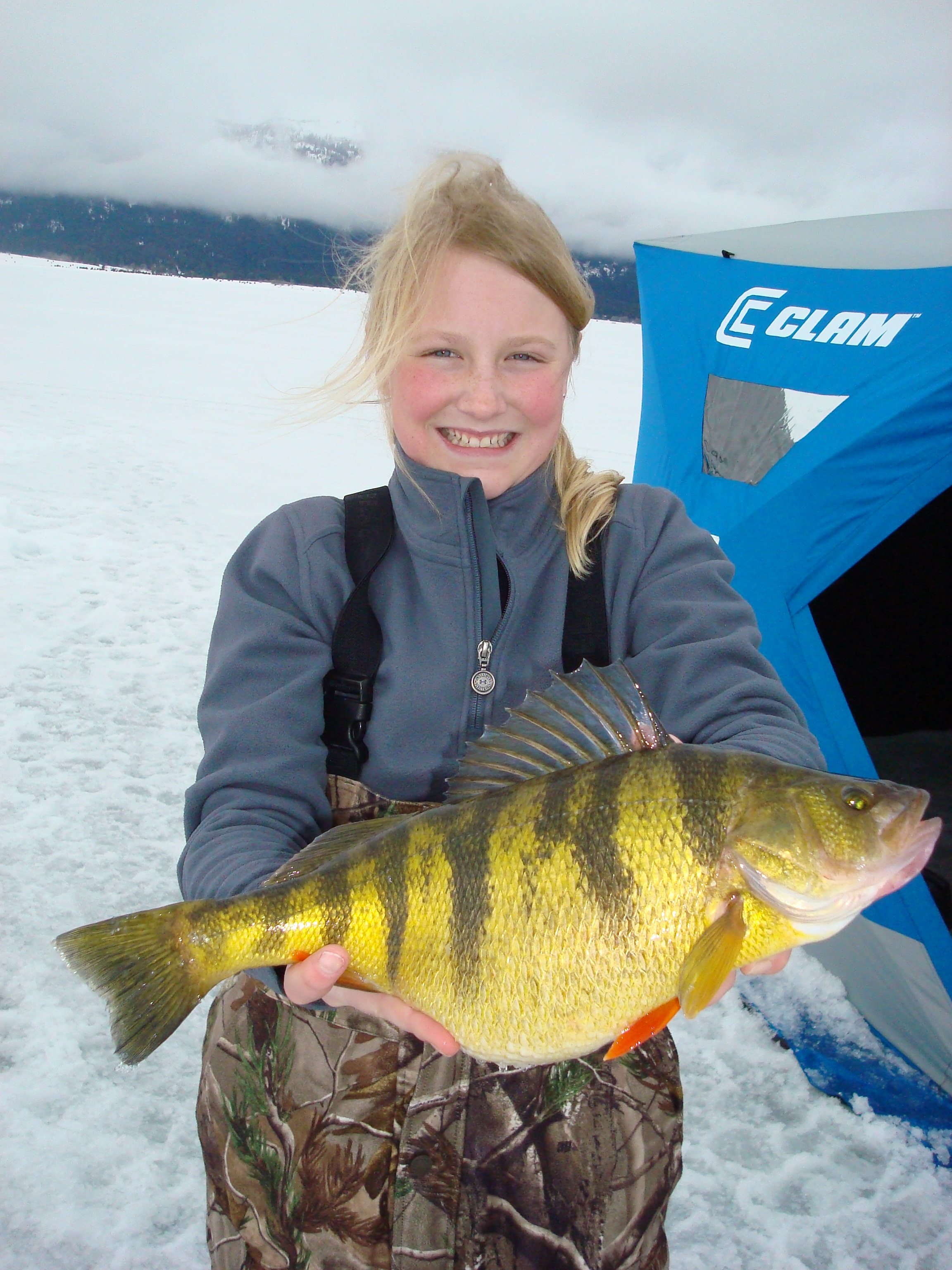 Tia Wiese's world record perch measured a whopping 15.5 inches long