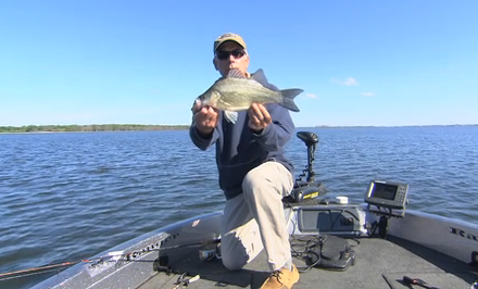 Doug Stange targets the sportiest panfish in North America with select lure options, white bass.