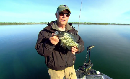 The In-Fisherman staff does some sight-fishing with jigs for prespawn crappies.