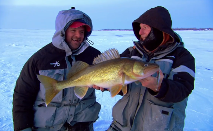 The In-Fisherman staff goes into bruiser-mode, as they use the unique Vibrato lure to waylay walleyes on ice.
