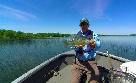 Doug Stange targets crappies in shallow water.