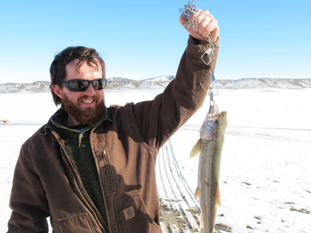 Shawn caught this lengthy fish to put his team in the running after day one of the 2013 Meeteetsee Ice Fishing derby in Meeteetsee, Wyoming