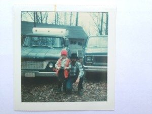 1977. Me and my dad, Larry Cruise, and the old green Dodge on my first trip to The Cabin.