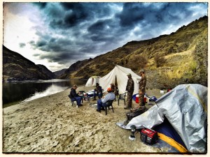 Base camp on the shores of Hell's Canyon