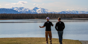 Sarah Palin's son, Track (left), and Sgt. Dakota Meyer (right), enjoy the breathtaking views of Lake Lucille from the former governor's backyard.