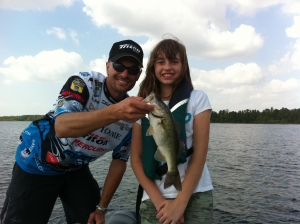 Basmaster Classic 2014 Randy Howell and Emily with her first bass