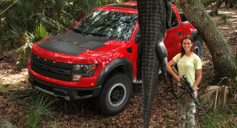 Haley Heath chose the Ford F-150 SVT Rapter for her gator hunting adventure.