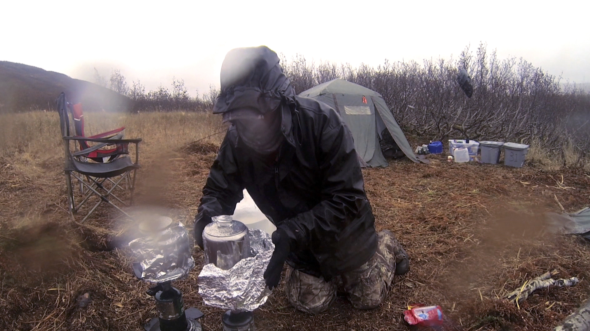 Bad Weather Cooking in Camp