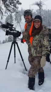 Cameraman Jimmy and I stop to film a small herd of elk across the canyon.