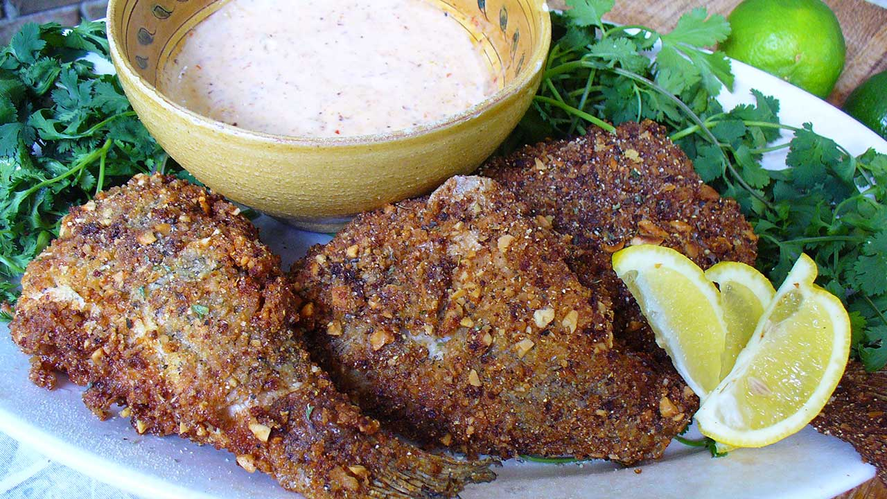 Fried Whole Crappie with Parmesan Peanut Crust