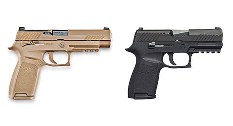 The Sig Sauer P320 handgun in beige and black. (Photo courtesy of gunsandammo.com)