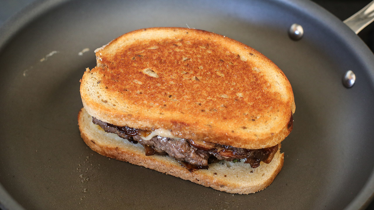 Toast assembled venison sandwich on both sides until rye bread is golden brown. (Jenny Nguyen photo)
