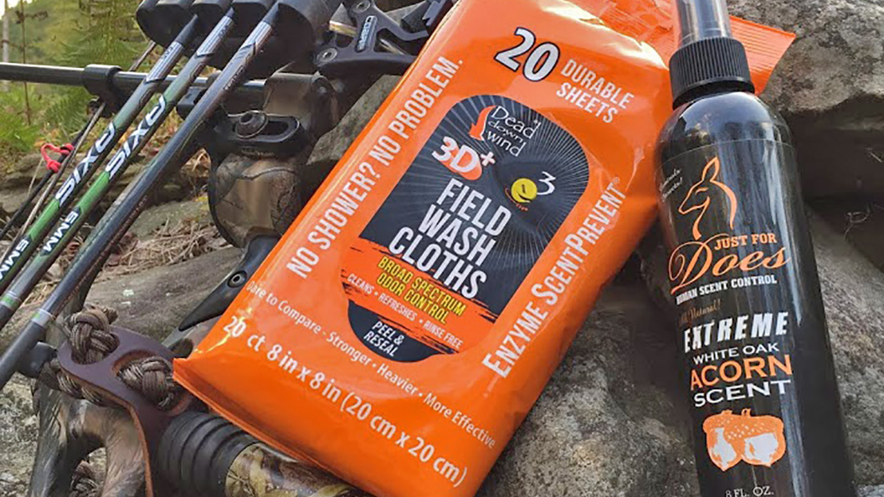 Dead Down Wind ScentPrevent Field Wipes and Just for Does White Oak Acorn Spray (Hanah Walton photo)