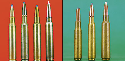 Left to right: standard .280 Rem, .280 RCBS, .280 Ackley Improved and Sundra's 7mm JRS. (Right) In Europe the 7x57 (left) and 7x64 (center) are the most popular 7mms. At right is the 7x68 Vom Hoffe, a rebated-rim cartridge like the .284 Win.