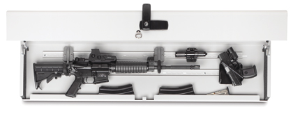 The Rapid Access Defense storage system can be mounted horizontally or vertically to provide ready access while keeping guns secure.