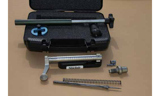 The kit includes a firing pin removal tool, mainspring tool, ejector spring tool and bench block—all in a handy black plastic foam-lined case to house the tools.