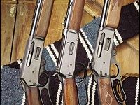 The quintessential American rifle--the lever action. From left to right: a 1950s-era Marlin 336 and a Pre-'64 Model 94 Winchester (both in .30-30), a Marlin 95 in .444 Remington.