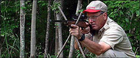 A rifle that is bedded with pressure on the barrel from the forearm tip is likely to shoot to different points of aim if it is rested between shooting sticks or against a tree or if a bipod is attached to the fore-end swivel stud. That's why the author prefers laminates or synthetic stocks and full- or partial-floating barrels.