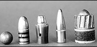 A wide array of hunting bullets, from left: muzzleloader round ball, cast lead bullet, jacketed pistol bullet in sabot for muzzleloading rifle, jacketed rifle bullet, Brenneke shotgun slug. By far the most efficient of these in flight is the jacketed rifle bullet. Much of a hunting bullet's energy is used to battle air resistance.