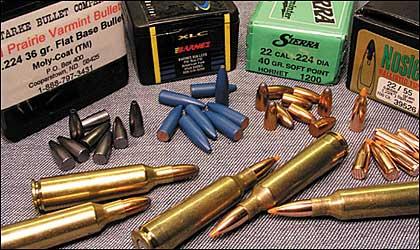 Starke 36-grain Moly-Coat varmint bullet, Barnes 53-grain XFB, Sierra 40-grain SP Hornet bullet and Nosler 55-grain Ballistic Tip.