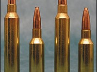 The full-length Remington Mags are shown to their respective new siblings: at left are the two 7mm's, at right the .30s.