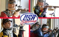 Olympic rifle shooters in action